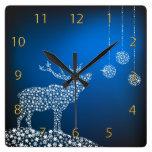 Navidad reno y estrellas reloj de pared