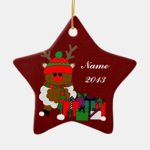 Navidad reno y presentes adorno de cerámica en forma de estrella
