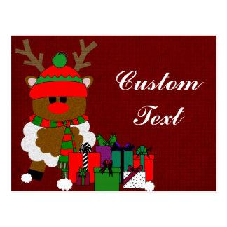 Navidad reno y presentes postal