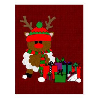 Navidad reno y presentes tarjeta postal