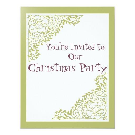 """Navidad retra del verde invita invitación 4.25"""" x 5.5"""""""