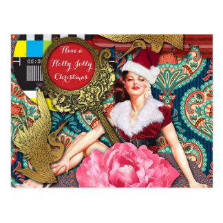 Navidad retra del vintage tarjeta postal