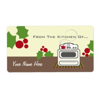 Navidad retro de la estufa de la cocina de… etiqueta de envío