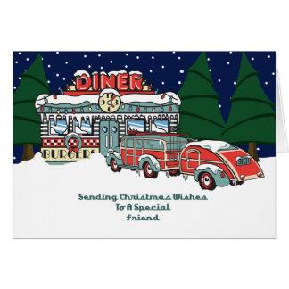 Navidad retro del comensal del amigo tarjeta de felicitación