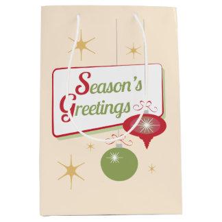 Navidad retro del estilo de los saludos de la bolsa de regalo mediana