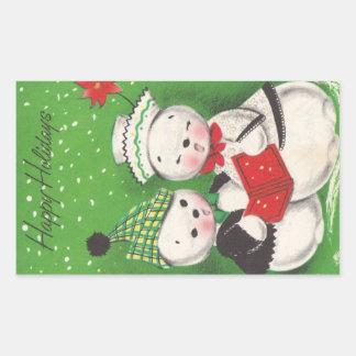 Navidad retro del muñeco de nieve rectangular pegatinas