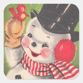 Navidad retro del muñeco de nieve pegatina cuadrada