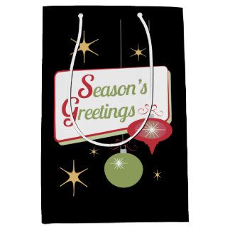 Navidad retro del negro del estilo de los saludos bolsa de regalo mediana