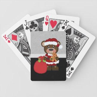 Navidad retro del oso de peluche baraja cartas de poker