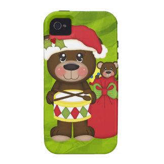 Navidad retro del oso de peluche vibe iPhone 4 carcasa