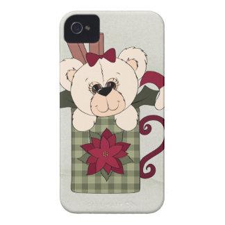 Navidad retro del oso de peluche iPhone 4 cárcasas