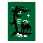 Navidad retro del vaquero del vintage tarjeton