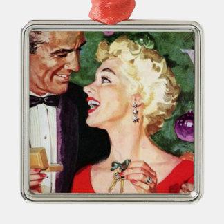 Navidad retro del vintage adorno cuadrado plateado