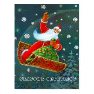 Navidad retro del vintage, la alfombra mágica de S Postales