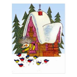 Navidad retro del vintage, la cabaña del erizo tarjetas postales