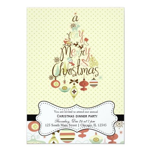 Navidad retro invitación 12,7 x 17,8 cm