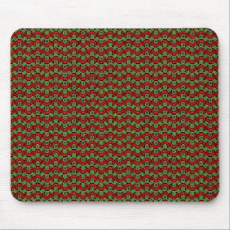 Navidad retro rojo y verde alfombrillas de ratones