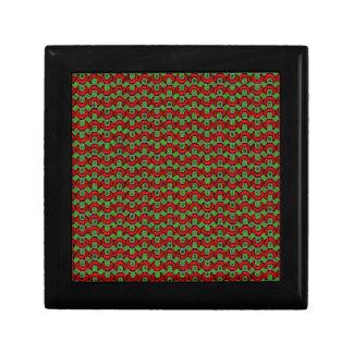 Navidad retro rojo y verde caja de regalo