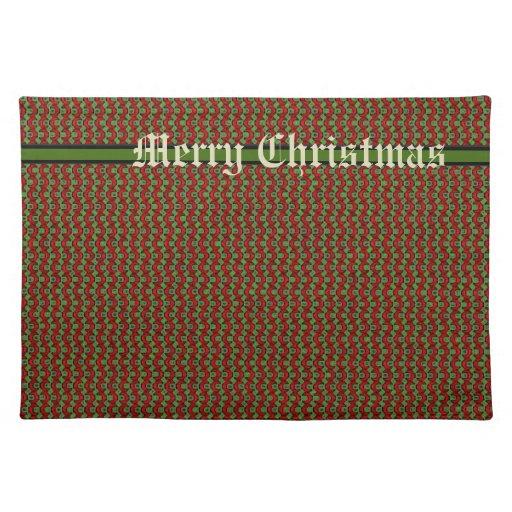 Navidad retro rojo y verde manteles individuales