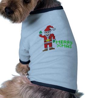 Navidad retro Santa del arte del pixel Ropa De Perros