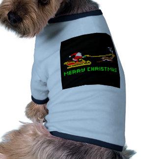 Navidad retro Santa del arte del pixel Camisetas De Mascota