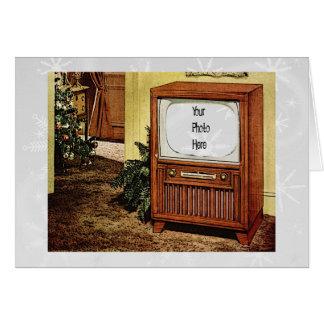 Navidad retro TV de los años 50 Tarjeta Pequeña