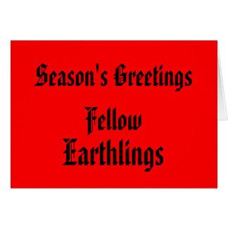 """Navidad roja de los """"Earthlings compañeros"""" Tarjeta De Felicitación"""
