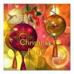 Navidad roja del verde amarillo del oro de la invitación 13,3 cm x 13,3cm