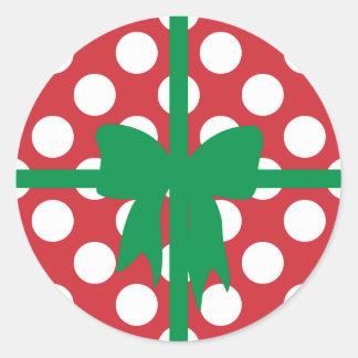 Navidad roja y blanca del lunar pegatinas redondas