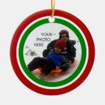 Navidad rojo, blanco, y verde ornamento para arbol de navidad