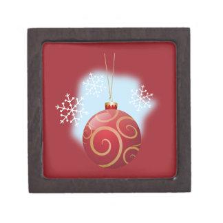 Navidad rojo chuchería y copos de nieve cajas de recuerdo de calidad