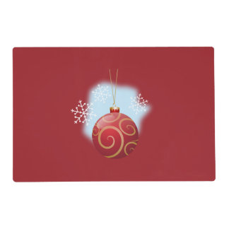 Navidad rojo chuchería y copos de nieve salvamanteles