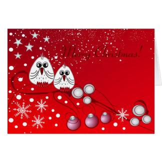 Navidad rojo con los pájaros tarjeta de felicitación