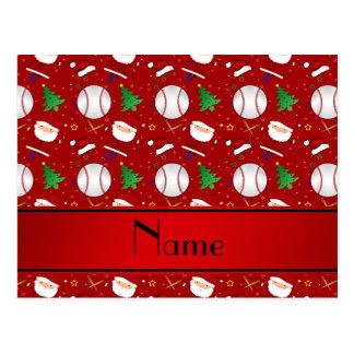 Navidad rojo conocido personalizado del béisbol postal