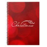 Navidad rojo de Bokeh Libro De Apuntes Con Espiral