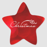 Navidad rojo de Bokeh Calcomanía Forma De Estrella Personalizada