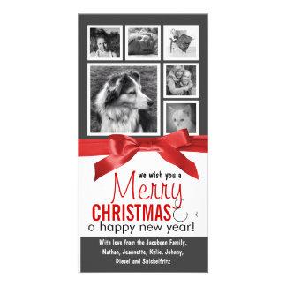 Navidad rojo de la cinta de las fotos de familia plantilla para tarjeta de foto