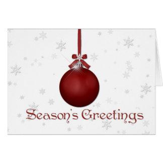 Navidad rojo de los copos de nieve de Oranment que Tarjeta De Felicitación