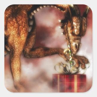 Navidad rojo de los dragones pegatina cuadrada