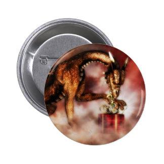 Navidad rojo de los dragones pin redondo 5 cm