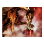 Navidad rojo de los dragones postal