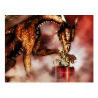 Navidad rojo de los dragones tarjeta postal