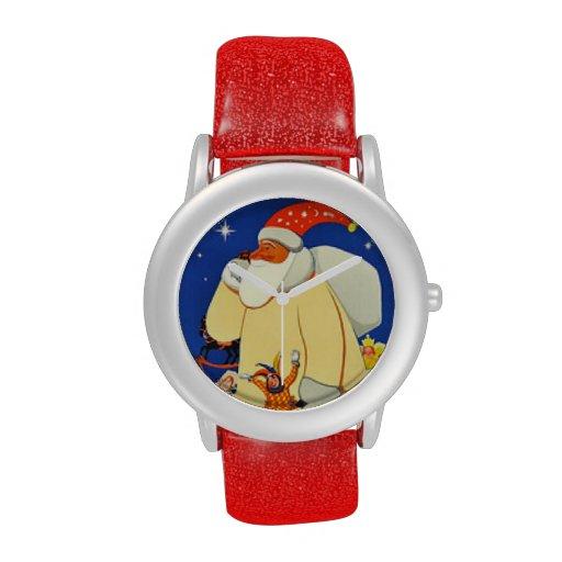 Navidad rojo de Papá Noel Relojes