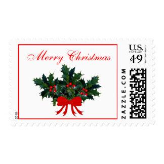 Navidad rojo del arco del acebo de la puntilla sellos
