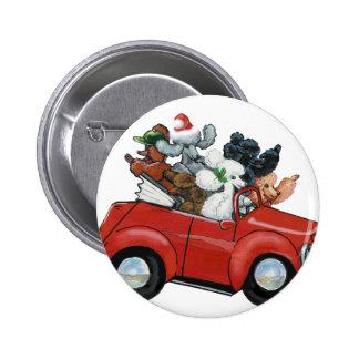 Navidad rojo del coche de los caniches de Oodles Pin