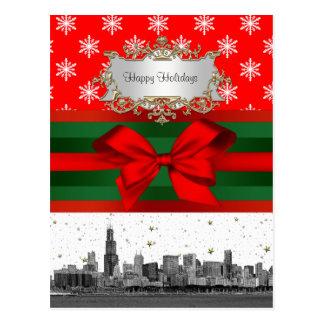 Navidad rojo del copo de nieve del horizonte de Ch Tarjetas Postales