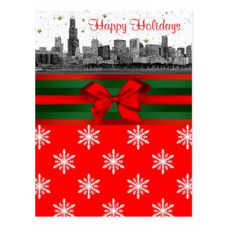 Navidad rojo del copo de nieve del horizonte de Ch Postales