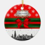 Navidad rojo del copo de nieve del horizonte de adorno redondo de cerámica