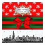 Navidad rojo del copo de nieve del horizonte de invitación 13,3 cm x 13,3cm