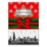 Navidad rojo del copo de nieve del horizonte de tarjeta de felicitación